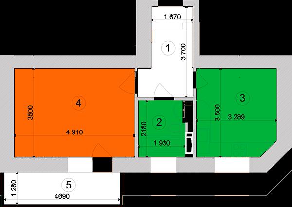 Купити Однокімнатна квартира 41,6 кв.м., тип 1.10, будинок 1, секція 3 в Києві Голосіївський район