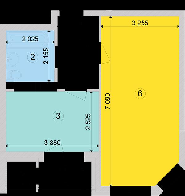 Купити Однокімнатна квартира 44,34 кв.м., тип 1.1, будинок 2, секція 1 в Києві Голосіївський район