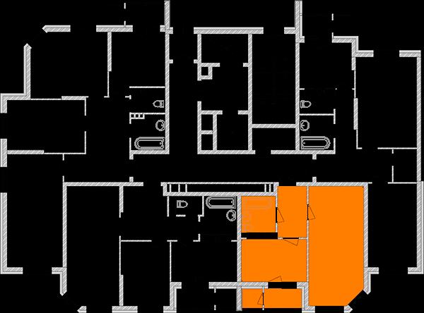 Однокімнатна квартира 44,34 кв.м., тип 1.1, будинок 2, секція 1 розташування на поверсі