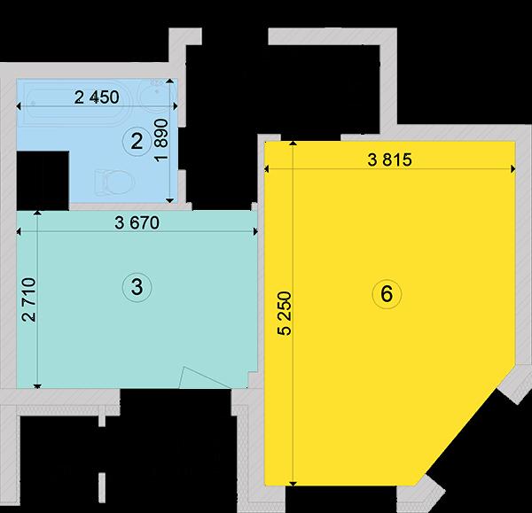 Купити Однокімнатна квартира 40,09 кв.м., тип 1.1, будинок 2, секція 2 в Києві Голосіївський район