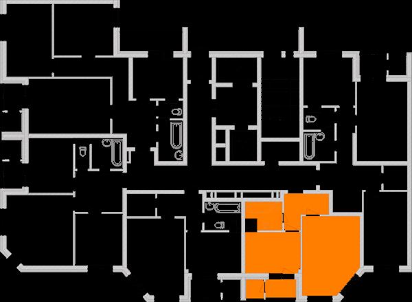 Однокомнатная квартира 40,09 кв.м., тип 1.1, дом 2, секция 2 расположение на этаже