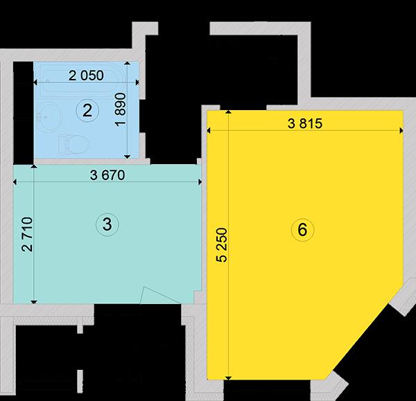 Купити Однокімнатна квартира 39,97 кв.м., тип 1.1, будинок 2, секція 3 в Києві Голосіївський район