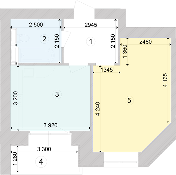 Купити Однокімнатна квартира 42,85 кв.м., тип 1.1, будинок 1, секція 4 в Києві Голосіївський район