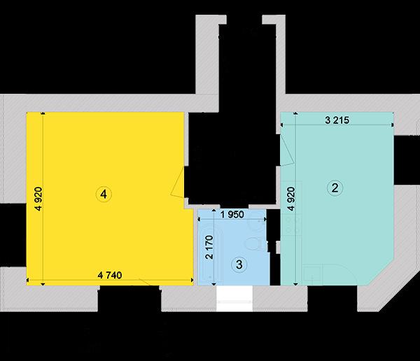 Купити Однокімнатна квартира 53,86 кв.м., тип 1.1, будинок 1, секція 5 в Києві Голосіївський район