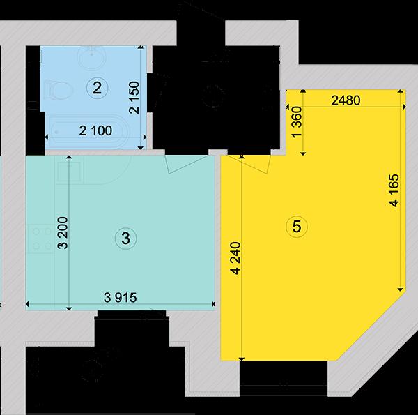 Купити Однокімнатна квартира 42,74 кв.м., тип 1.1, будинок 1, секція 6 в Києві Голосіївський район