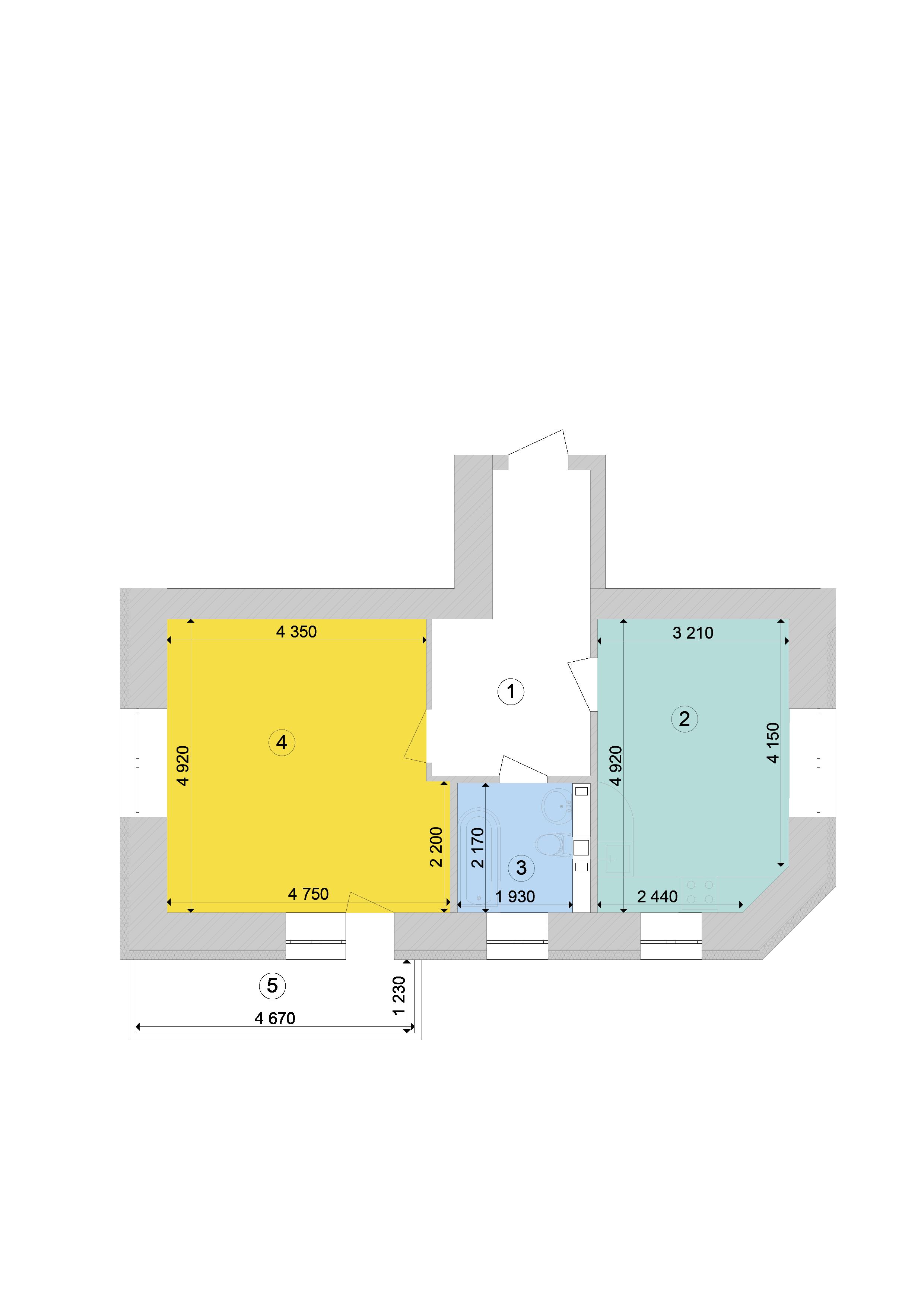 Купити Однокімнатна квартира 53,76 кв.м., тип 1.1, будинок 1, секція 7 в Києві Голосіївський район