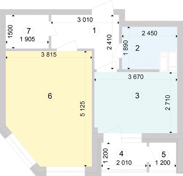 Купити Однокімнатна квартира 42,72 кв.м., тип 1.2, будинок 2, секція 2 в Києві Голосіївський район