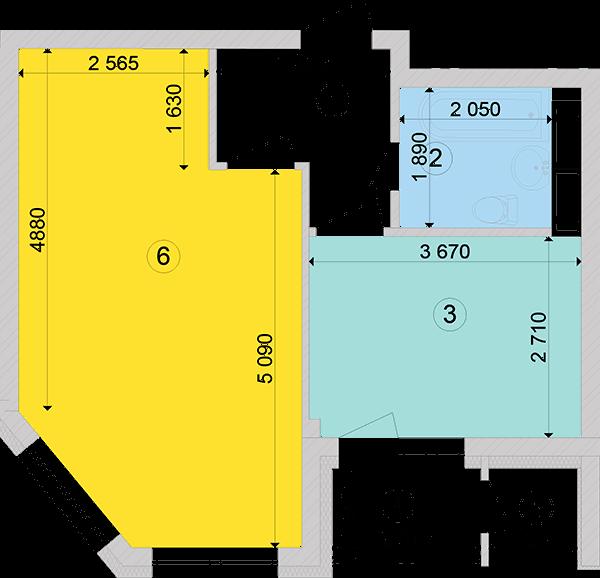 Купити Однокімнатна квартира 42,84 кв.м., тип 1.2, будинок 2, секція 3 в Києві Голосіївський район