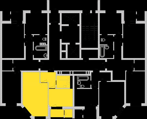 Однокімнатна квартира 42,84 кв.м., тип 1.2, будинок 2, секція 3 розташування на поверсі
