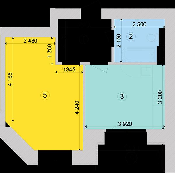Купити Однокімнатна квартира 42,86 кв.м., тип 1.2, будинок 1, секція 4 в Києві Голосіївський район