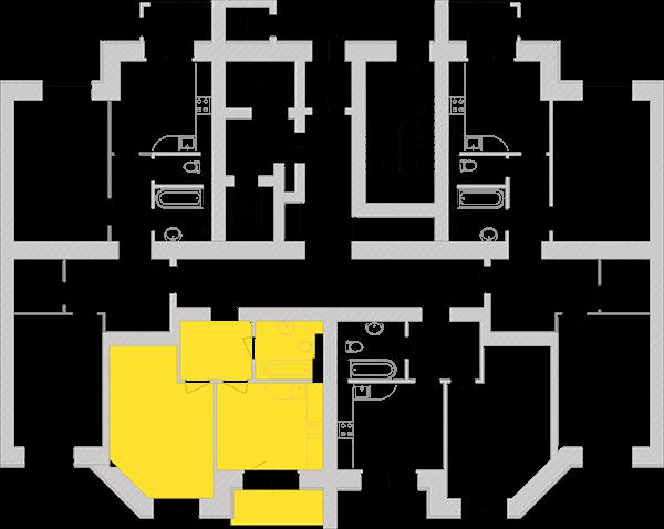 Однокімнатна квартира 42,86 кв.м., тип 1.2, будинок 1, секція 4 розташування на поверсі