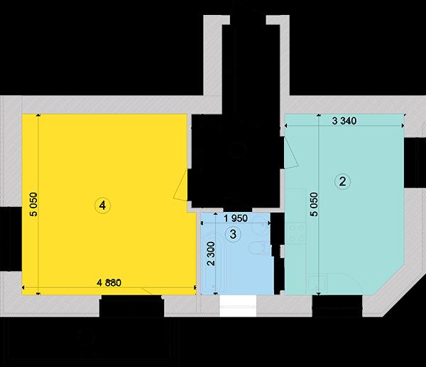 Купити Однокімнатна квартира 56,36 кв.м., тип 1.2, будинок 1, секція 5 в Києві Голосіївський район