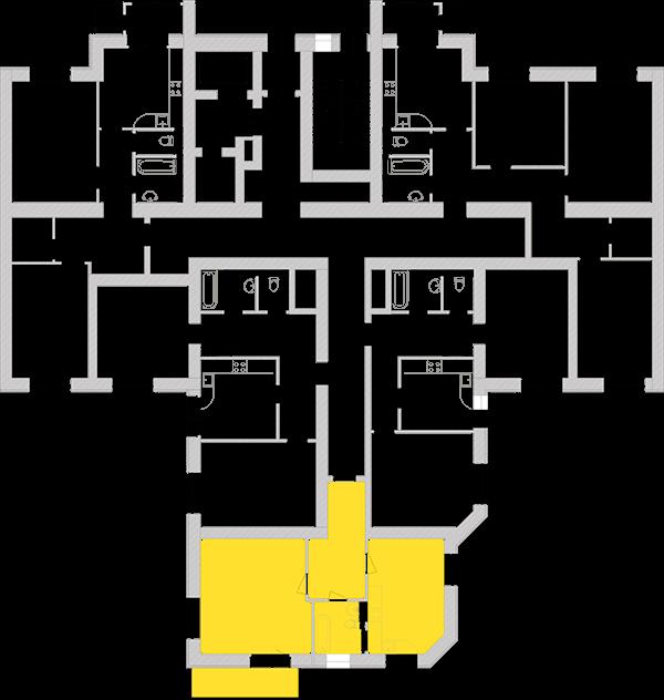 Однокомнатная квартира 56,36 кв.м., тип 1.2, дом 1, секция 5 расположение на этаже