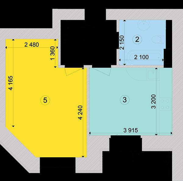 Купити Однокімнатна квартира 42,74 кв.м., тип 1.2, будинок 1, секція 6 в Києві Голосіївський район