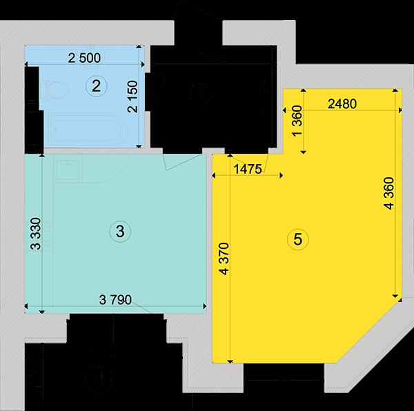 Купити Однокімнатна квартира 44,06 кв.м., тип 1.3, будинок 1, секція 4 в Києві Голосіївський район