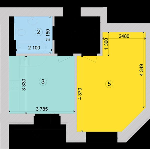 Купити Однокімнатна квартира 43,93 кв.м., тип 1.3, будинок 1, секція 6 в Києві Голосіївський район