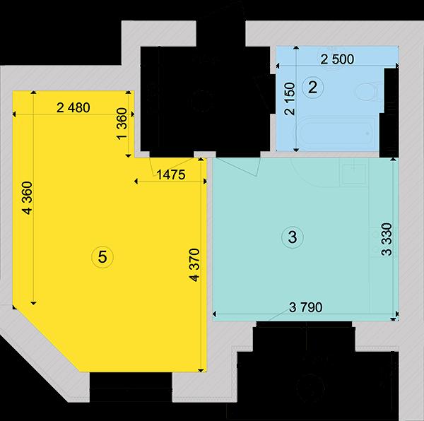 Купити Однокімнатна квартира 44,06 кв.м., тип 1.4, будинок 1, секція 4 в Києві Голосіївський район