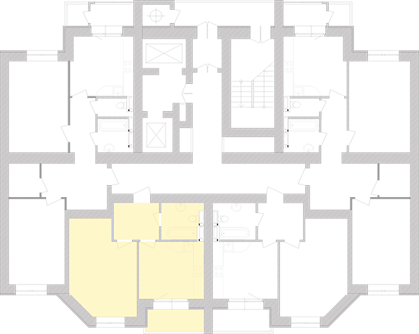 Однокімнатна квартира 44,06 кв.м., тип 1.4, будинок 1, секція 4 розташування на поверсі