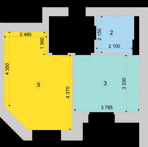 Купити Однокімнатна квартира 43,93 кв.м., тип 1.4, будинок 1, секція 6 в Києві Голосіївський район