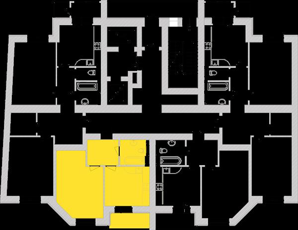 Однокомнатная квартира 43,93 кв.м., тип 1.4, дом 1, секция 6 расположение на этаже