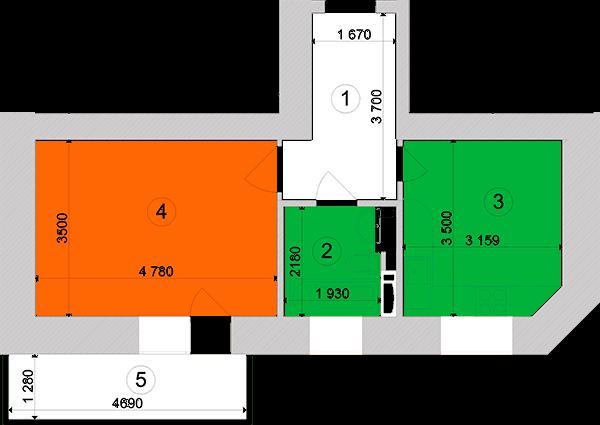 Купити Однокімнатна квартира 39,45 кв.м., тип 1.9, будинок 1, секція 3 в Києві Голосіївський район