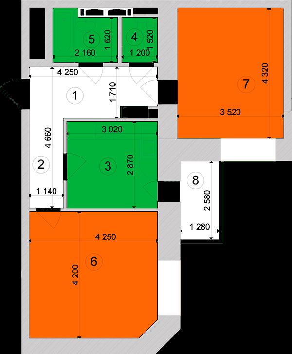 Купити Двокімнатна квартира 56,54 кв.м., тип 2.11, будинок 1, секція 3 в Києві Голосіївський район