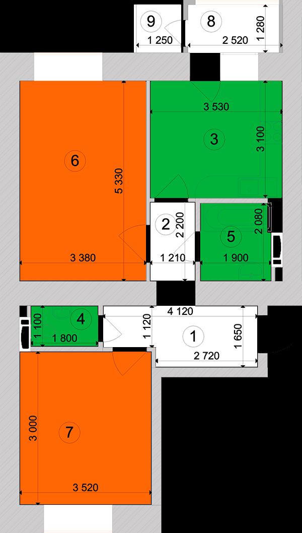 Купити Двокімнатна квартира 59,33 кв.м., тип 2.13, будинок 1, секція 3 в Києві Голосіївський район
