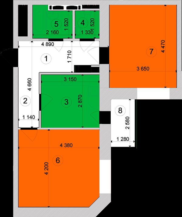 Купити Двокімнатна квартира 58,88 кв.м., тип 2.14, будинок 1, секція 3 в Києві Голосіївський район