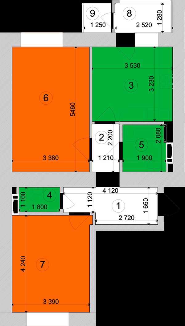 Купити Двокімнатна квартира 60,37 кв.м., тип 2.16, будинок 1, секція 3 в Києві Голосіївський район