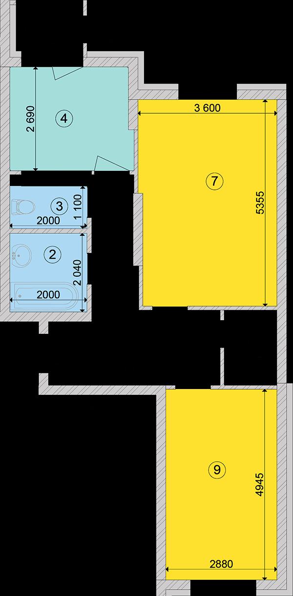 Купити Двокімнатна квартира 63,65 кв.м., тип 2.1, будинок 2, секція 1 в Києві Голосіївський район