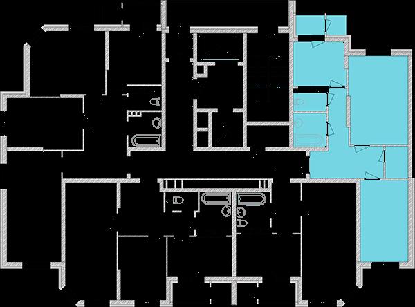 Двухкомнатная квартира 63,65 кв.м., тип 2.1, дом 2, секция 1 расположение на этаже