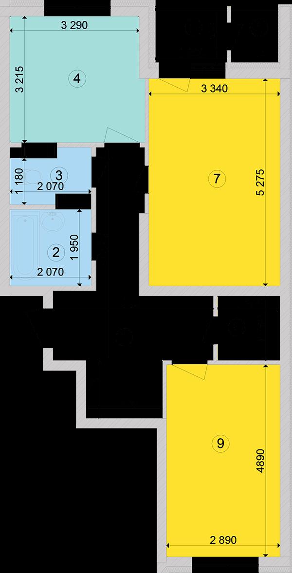 Купити Двокімнатна квартира 67,85 кв.м., тип 2.1, будинок 2, секція 2 в Києві Голосіївський район