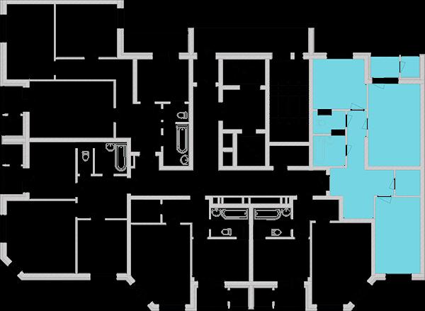 Двухкомнатная квартира 67,85 кв.м., тип 2.1, дом 2, секция 2 расположение на этаже