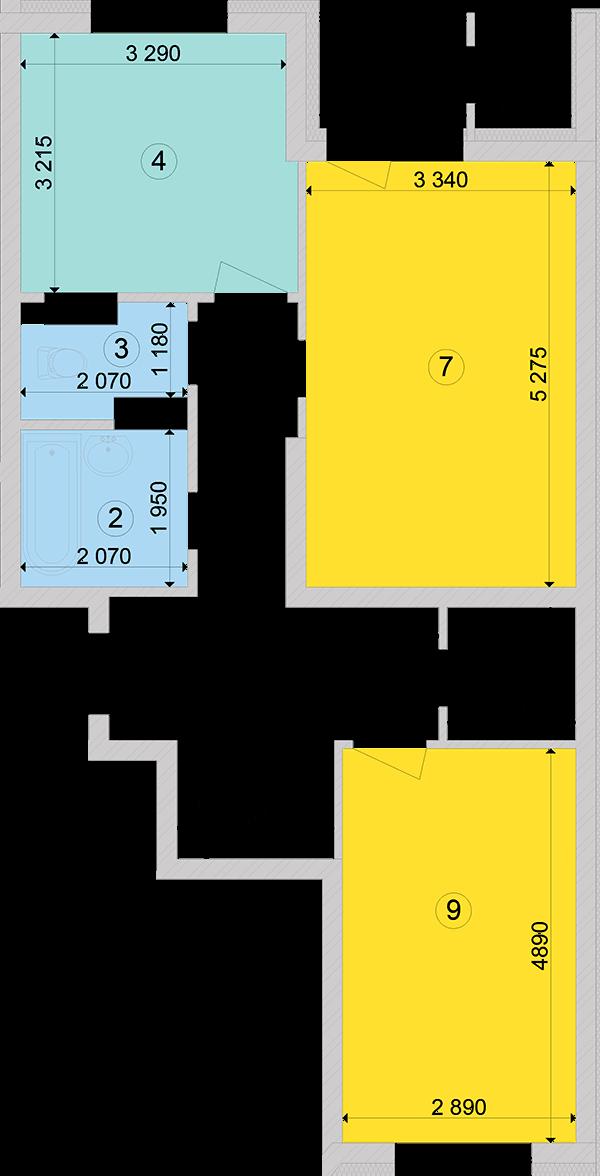 Купити Двокімнатна квартира 67,85 кв.м., тип 2.1, будинок 2, секція 3 в Києві Голосіївський район
