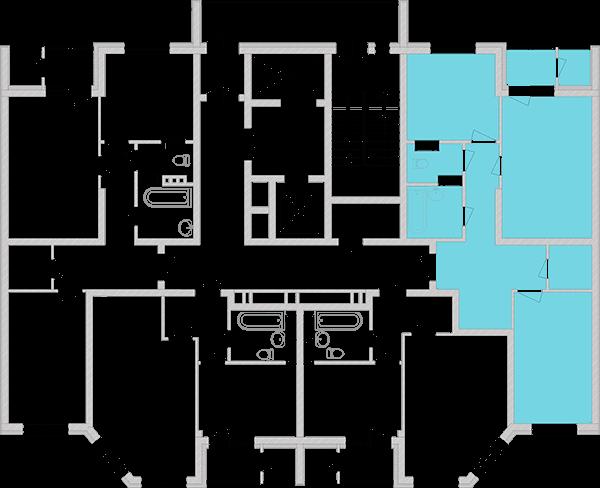 Двокімнатна квартира 67,85 кв.м., тип 2.1, будинок 2, секція 3 розташування на поверсі