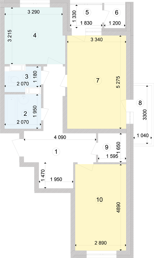 Купити Двокімнатна квартира 68,88 кв.м., тип 2.1, будинок 2, секція 4 в Києві Голосіївський район