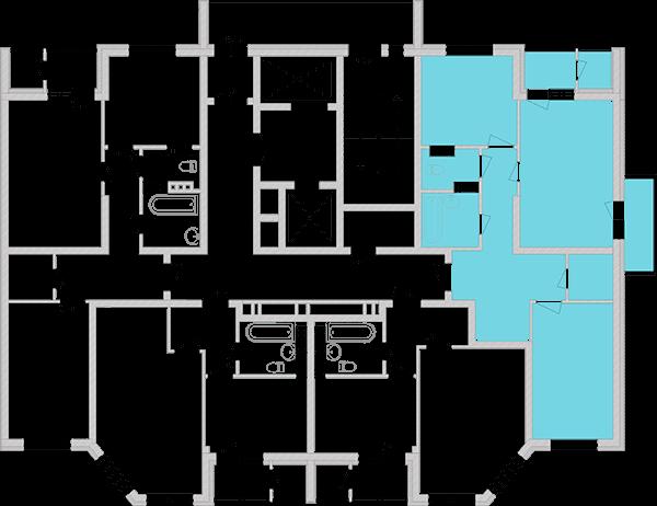 Двухкомнатная квартира 68,88 кв.м., тип 2.1, дом 2, секция 4 расположение на этаже
