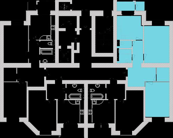 Двухкомнатная квартира 72,72 кв.м., тип 2.1, дом 1, секция 4 расположение на этаже