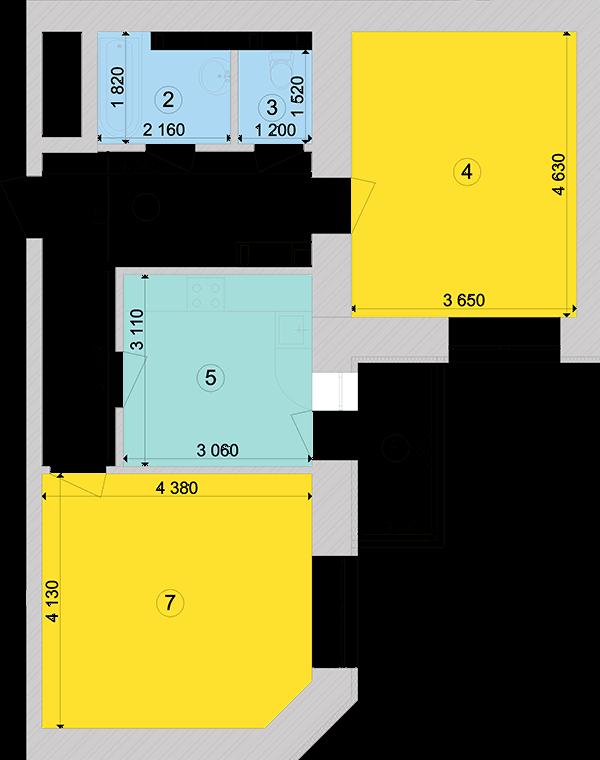 Купить Двухкомнатная квартира 61,07 кв.м., тип 2.1, дом 1, секция 5 в Киеве Голосеевский район