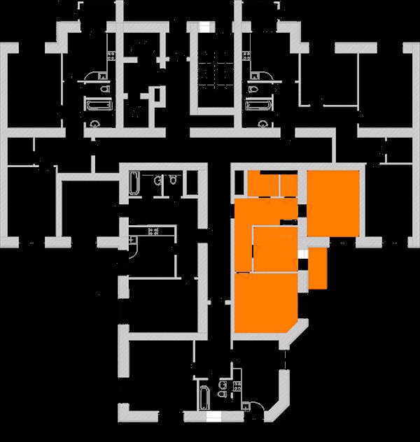 Двухкомнатная квартира 61,07 кв.м., тип 2.1, дом 1, секция 5 расположение на этаже