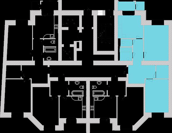 Двухкомнатная квартира 72,54 кв.м., тип 2.1, дом 1, секция 6 расположение на этаже