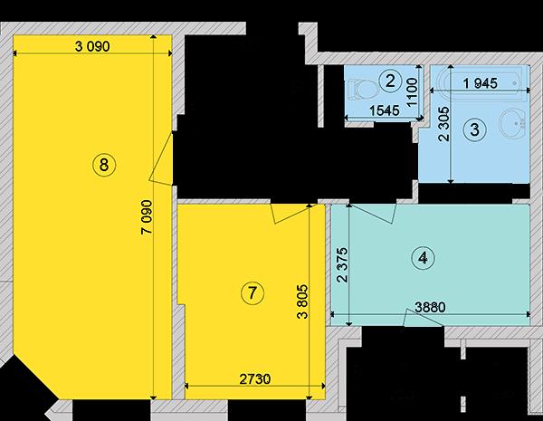 Купити Двокімнатна квартира 60,73 кв.м., тип 2.2, будинок 2, секція 1 в Києві Голосіївський район