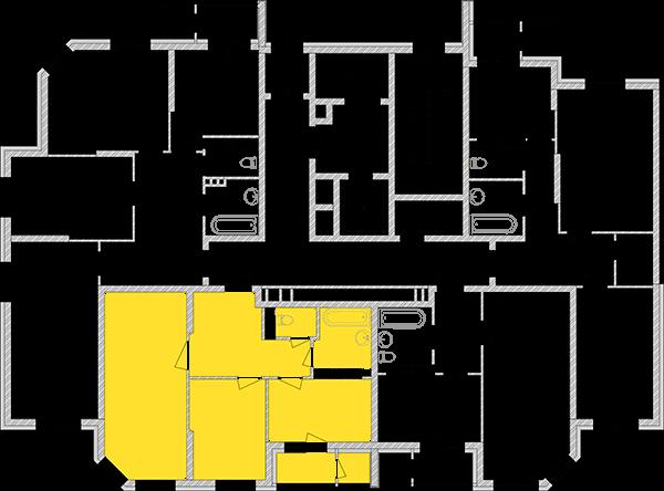 Двухкомнатная квартира 60,73 кв.м., тип 2.2, дом 2, секция 1 расположение на этаже