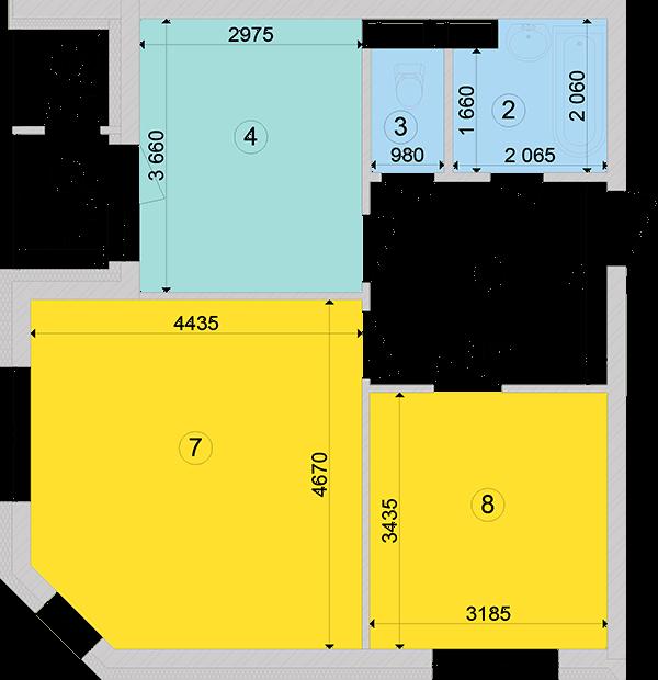Купити Двокімнатна квартира 57,96 кв.м., тип 2.2, будинок 2, секція 2 в Києві Голосіївський район