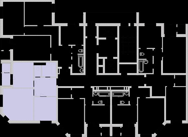 Двокімнатна квартира 57,96 кв.м., тип 2.2, будинок 2, секція 2 розташування на поверсі