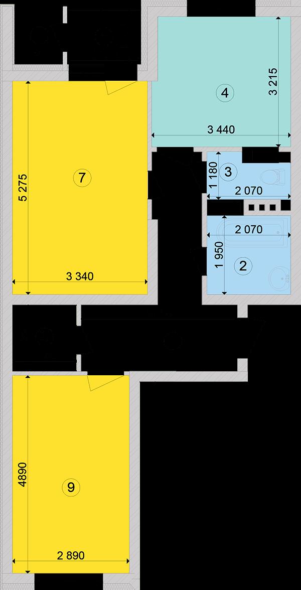 Купити Двокімнатна квартира 64,07 кв.м., тип 2.2, будинок 2, секція 3 в Києві Голосіївський район