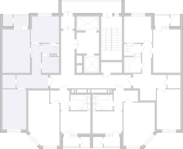 Двокімнатна квартира 64,07 кв.м., тип 2.2, будинок 2, секція 3 розташування на поверсі