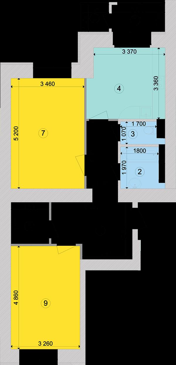 Купити Двокімнатна квартира 71,33 кв.м., тип 2.2, будинок 1, секція 4 в Києві Голосіївський район