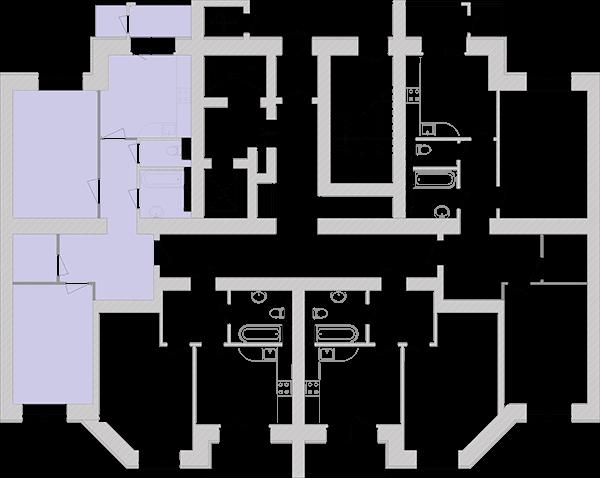 Двухкомнатная квартира 71,33 кв.м., тип 2.2, дом 1, секция 4 расположение на этаже