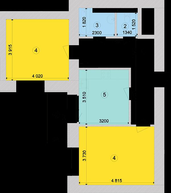 Купити Двокімнатна квартира 64,66 кв.м., тип 2.2, будинок 1, секція 5 в Києві Голосіївський район